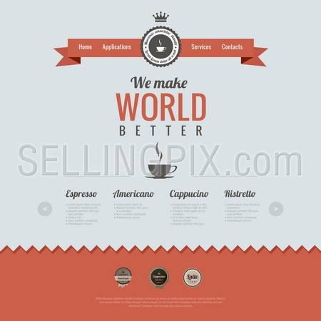Vintage website design template. Coffee theme. HTML5 Retro style. Vector.