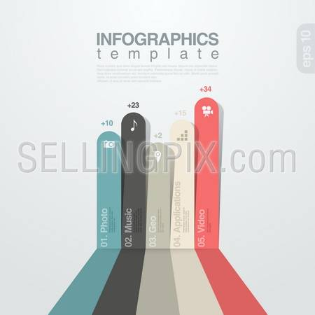 Infographics design template. Colored Lines graph. Vector. Editable.