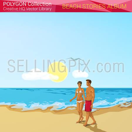 Polygonal style beach people concept. Vacation design elements. Polygon world collection.