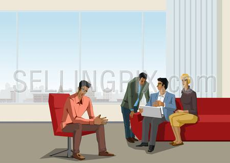 Polygonal office life creative vector illustration. Business meeting. Brainstorming.  Polygon people collection.