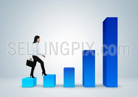 Financial report & statistics. Business success concept. Climb the career ladder concept. Business woman with suitcase walk up the bar graph.