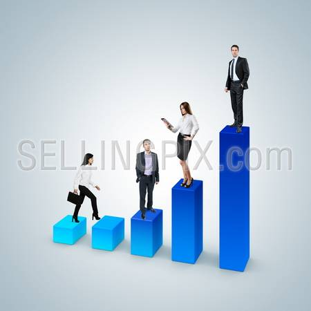 Climb the career ladder concept. Business success concept. Financial report & statistics. Business woman with suitcase walk up the bar graph. Businessman and business woman standing on the bar chart.