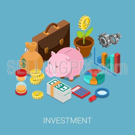 Flat 3d isometric investment, capitalization, money savings, finance web infographic concept vector. Piggy bank, coin flower plant, money bag, sand clock, cogwheel, chart graphic report, briefcase.