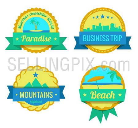 Travel Adventures logo templates. Vintage labels for vacation. Vector tourism icons. Editable. Trendy design style.