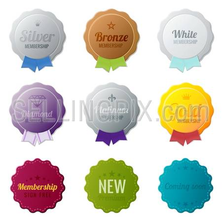 Vintage Labels membership collection.  Bronze, Silver, Gold, Platinum, Diamond members medals.  Vector logo template. Editable.
