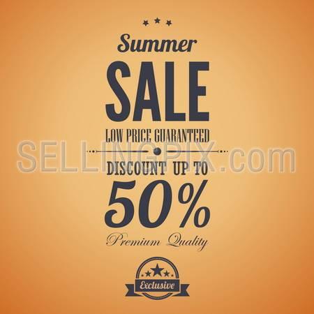 Summer sale poster advertisement. Retro style. Vintage vector design template. Editable.