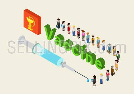 Flat 3d isometric medical vaccine, cure research, addiction, vaccination web infographic concept vector. Line of cartoon characters people waiting for their portion of vaccine from the syringe.