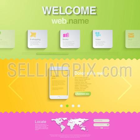 Website design template for mobile devices. HTML5 style. Trendy creative business concept. Modern. Editable.