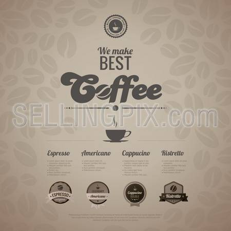 Coffee menu poster vector design template in retro style. Vintage labels included. Trendy. Editable.