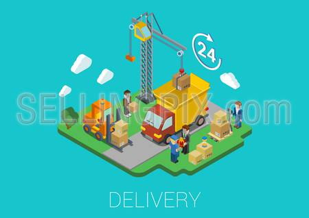 Flat 3d isometric delivery van cargo shipment crane and movers loading web infographic concept vector. 24-hour round-the-clock full time delivery island conceptual.