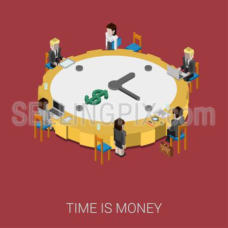 Flat 3d isometric style modern time is money web site infographic concept. Conceptual illustration business people sitting around office conference room table big shaped clock. Round clock like coin.
