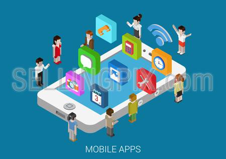 Flat style 3d isometric vector illustration concept of smart phone with micro people and casual, social media apps icons. Concept for mobile applications, development, downloading, installing, usage.
