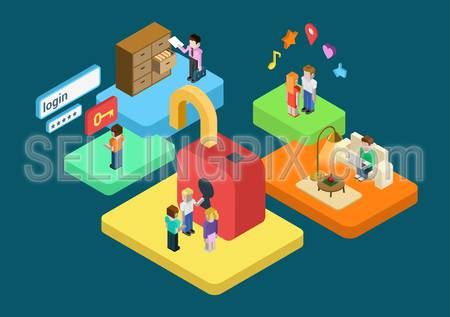 Flat 3d isometric user profile secure SSL authentication conceptual vector. Virtual login password form, restricted access content concept infographics. Platforms with people and interior objects.