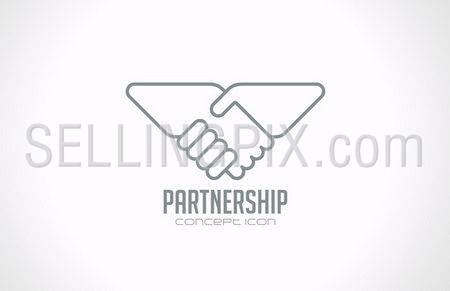 Handshake vector logo design template. Sale, deal, trade theme. Creative icon.