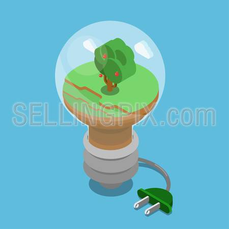 Eco green energy lifestyle planet world on globe modern flat style template. Windmill and sun battery, eco transport, non pollutive factory production, trees and clouds. Ecology concepts collection.