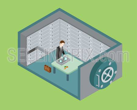 Flat 3d web isometric bank vault, safe depository box room infographic concept vector. Man puts diamond valuables to depositary. Creative people collection.