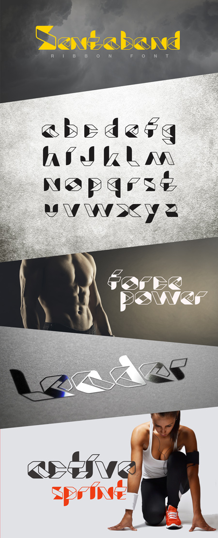 Sentaband ribbon title header font