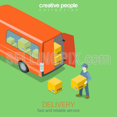 Delivery service van flat 3d web isometric infographic concept vector. Courier holds box before deliver truck rear doors. Creative people collection.