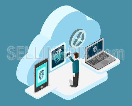 Biometric fingerprint identification internet cloud authentication flat 3d web isometric creative infographic concept vector. Security, secure data access. Touch screen tablet phone and laptop.