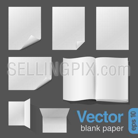 Blank Sheets of Paper & Notebook realistic vector design template.