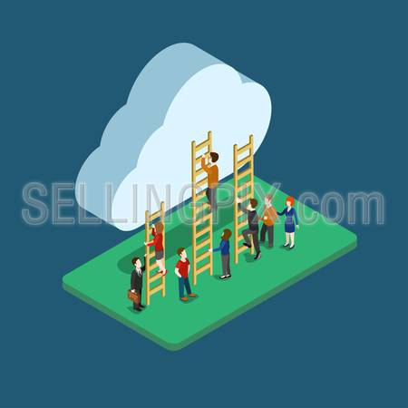 Flat 3d web isometric people using cloud technology infographic concept vector. Man and woman climbing ladder to the cloud. Online distributed media data storage. Creative people collection.