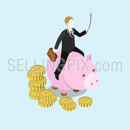 Flat 3d web isometric investor businessman entrepreneur tycoon infographic concept vector. Man riding driving piggy bank with whip. Creative people collection.