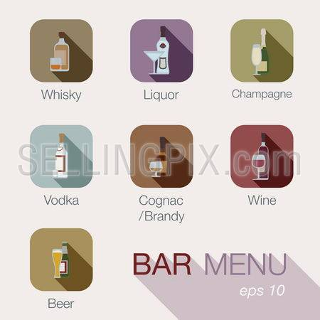 Bar alcohol drinks vector icons menu design template.Cafe beverages concept. Button collection for web and apps.Contains: whisky, liquor, champagne, vodka, cognac, brandy, wine, whiskey, beer.