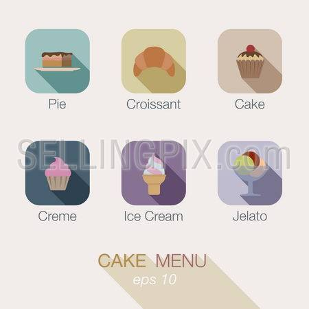 Cake Sweet Candy shop vector icon menu design. Useful for web and apps. Buttons: pie, croissant, cake, creme, ice cream, gelato.