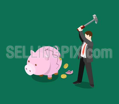 ROI return on investment business financial concept flat 3d web isometric infographic vector. Man crash moneybox, coin fall out. Creative people financial monetary piggy bank savings collection.
