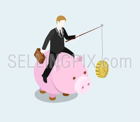 Financial bait flat 3d web isometric infographic concept vector. Businessman riding money bank with fishing rod and coin food to feed. Creative people financial monetary piggy bank savings collection.