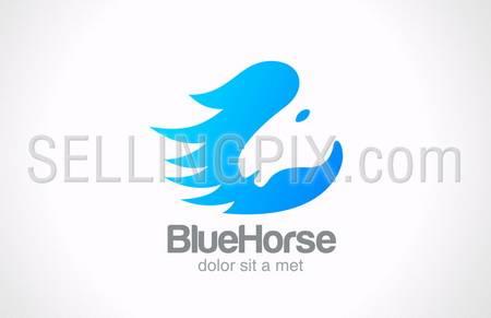 Horse silhouette abstract vector logo design template. Creative design style concept icon. – stock vector