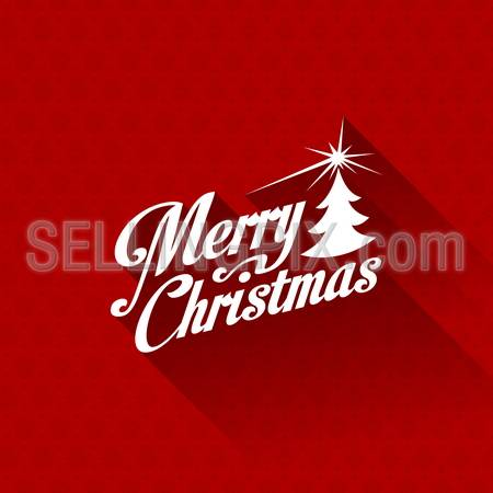 Merry Christmas greeting card vector design template. Trendy Retro creative style. Red Vintage Seamless pattern on background. – stock vector