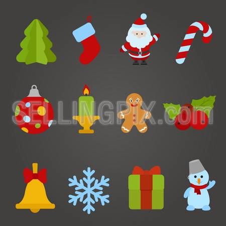 Christmas vector flat design icon set. Happy new year theme collection. Christmas tree, Santa Claus, Candle, Cookie, Bell, Snowflake, Gift, Snowman. – stock vector