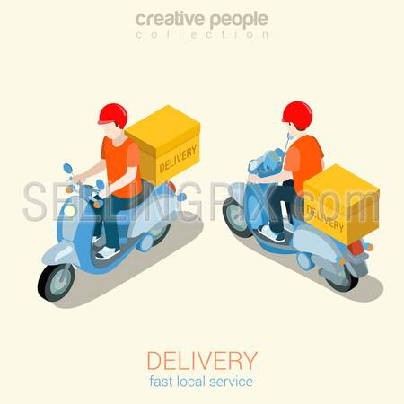 Scooter delivery man flat 3d web isometric infographic concept vector template mockup. Creative people collection.