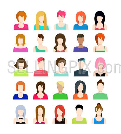 Set of people icons in flat style with faces. Vector women character. Template concept collection for web profile avatar.