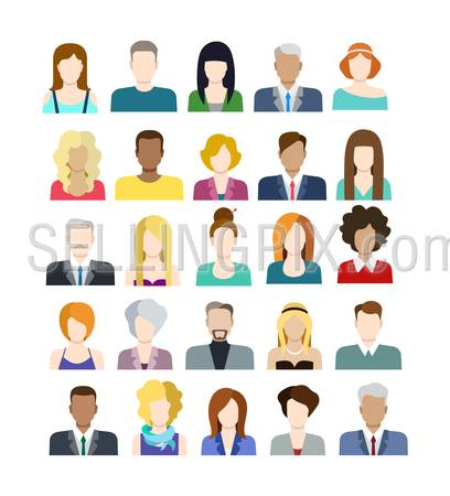 Set of casual stylish fashionable people icons in flat style with faces. Vector men and women character. Template concept collection for web profile avatar.