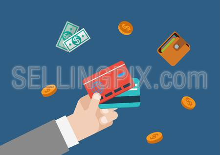 Credit card finance money payment flat vector web concept template illustration. Businessman hand holding bank cards, coins, wallet and bank notes. Monetary conceptual collection.