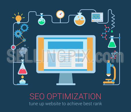 Flat modern style SEO optimization magic chemistry process desktop computer interface window objects template. Abstract chemical science reaction in connection with computer technology.