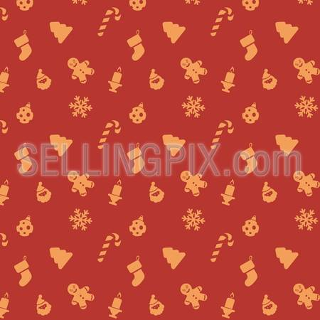 Christmas holidays vector seamless pattern. Red Wrapping paper creative design. New Year Holiday background abstract. – stock vector