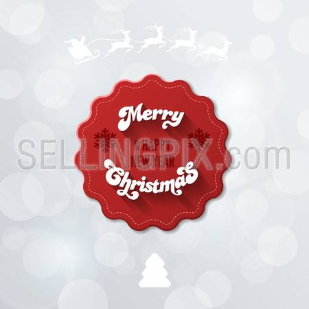 Merry Christmas & Happy new Year Red Vintage Logo Creative design template. Retro Label on Bokeh Holiday Vector Background. – stock vector