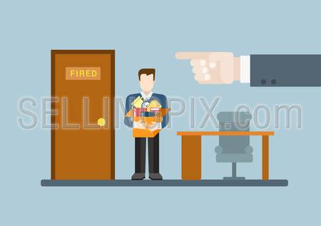 You are fired flat modern trendy stylish concept vector illustration. Big boss hand finger pointing ex-worker to door with fired word plate. HR conceptual collection.