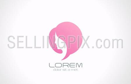 Woman chat vector logo design template. Girl silhouette – cosmetics, beauty, health & spa, fashion themes. Creative icon. – stock vector