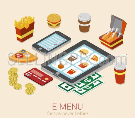 E-menu electronic mobile device menu meal online order flat 3d isometric cafe restaurant bistro fastfood infographic web concept template. Burger sandwich pizza fried potato cola phone tablet website.
