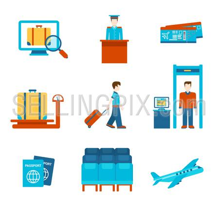 Travel flat style people objects airport security scanner airplane tickets luggage weighting infographics user interface icon set isolated vector illustration. Holiday tourism booking business.