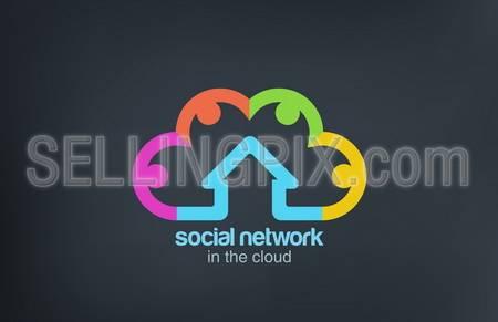 Social Cloud vector logo design template. Social Marketing Network concept symbol. Startup business abstract idea. – stock vector