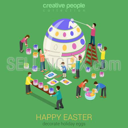 Easter egg painting micro people flat 3d isometric infographic holiday vector template. Spring religious vacation concept card web print materials.