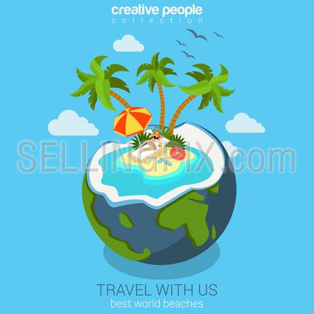 Travel tropic island beach in world globe coconut cocktail flat 3d web isometric infographic vacation concept vector template mockup. Sunbathing beauty woman on lounge. Creative tourism collection.