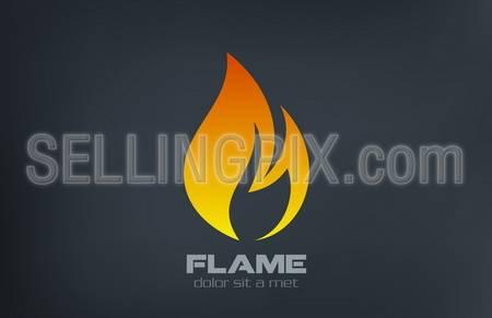 Fire flame vector logo creative design template. – stock vector