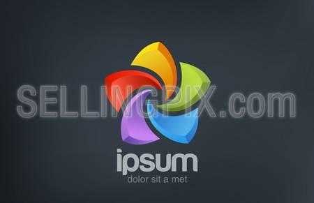 Five point Star abstract colorful vector logo design template. Social symbol. – stock vector