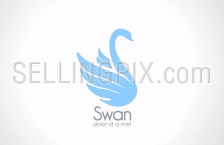Swan bird silhouette vector logo design template.  Elegant concept such as logotype symbol for Cosmetics, SPA, Healthcare, Fashion etc. – stock vector